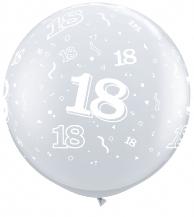 3FT Diamond Clear  Age 18 Latex Balloons x 2